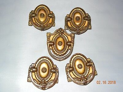 Lot Of 5 Early American Antique Federal Dresser Drawer Pulls Brass