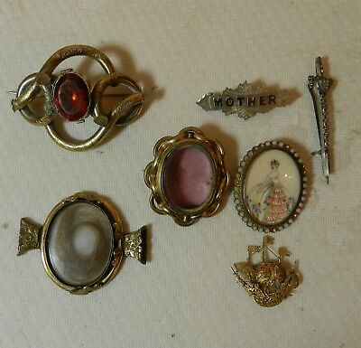 Job Lot Antique and Vintage Costume & Silver Jewellery Brooches etc Thomas Mott