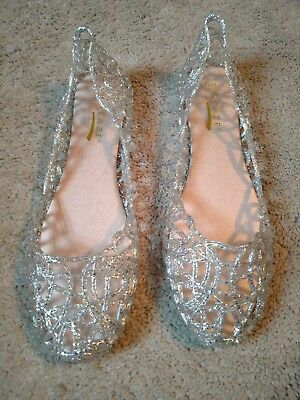 clear/silver jelly flats size 10 bridal, prom shoes