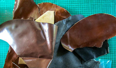 Leather Offcuts 7 pieces mostly brown suit patches, toys 180217-1