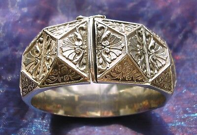 Stunning large engraved Silver bangle with hexagonal & triangular faces