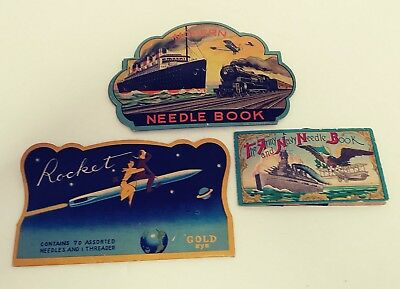 Three Vintage Sewing Needle Books