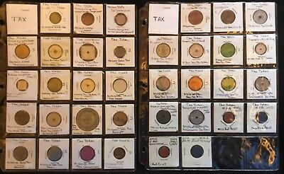 One Lot Of 36 Assorted Tax Tokens - Vintage Collectables