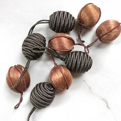 Antique Toggles Copper & Taupe Silk Passementerie Mix Beads Bobbles 1800s Lot