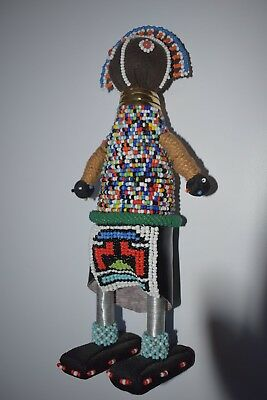 "Ndebele Handmade Beaded African Doll 11"" Tall Good Condition"