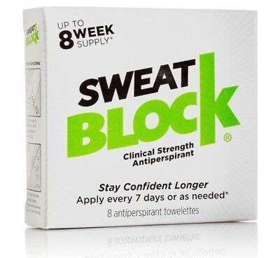 Sweatblock Antiperspirant Towelettes X 8 - Reduce Sweat For Up To 7 Days Per Use