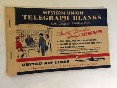 1950's Western Union Telegraph Blanks Booklet, Complete - United Air Lines