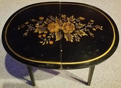 Vtg L. Hitchcock Black Stenciled FOLDING OVAL Accent TABLE