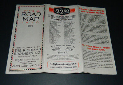 Vintage Road Map Ohio 1930 Richman Brothers Co