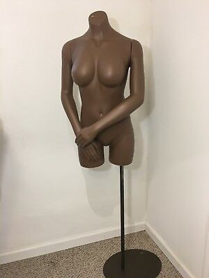 African Female Nude Lady Bust Torso Statue Pole Stand.