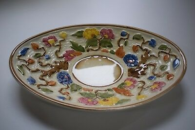 """VINTAGE H.J.WOOD INDIAN TREE OVAL DISH hand painted 11.5"""" long x 7.5"""" wide"""