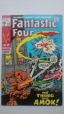 Fantastic Four # 111  Fn++  The Thing Vs Human Torch   Cents  1971