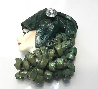 Vintage Beautiful Lady Face Leather & Rhinestone Brooch