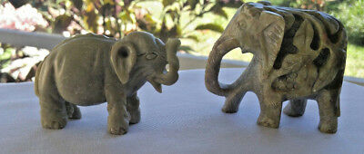 Vintage Marble Or Soapstone Two Elephants, Mother & Child Intricately Carved