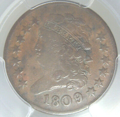 * 1809/6  Half Cent~Classic Head First Year~C 5 9 Over Inverted 9~Pcgs Vf20  *
