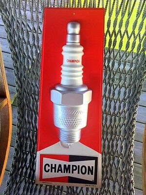 Vintage NOS Original mid-1980's Champion Spark Plug 3D advertising sign