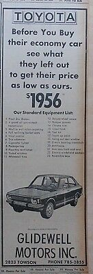 1972 newspaper ad for Toyota - Standard Equipment List, before you buy theirs