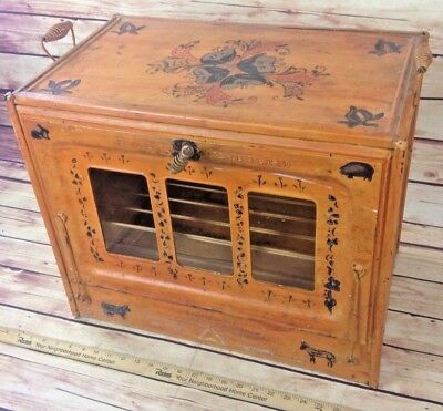 1920'S PERFECTION STOVE COMPANY OVEN HAND PAINTED Folk Art Decor PRIMITIVE