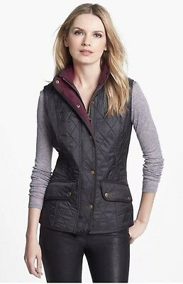 Barbour Women's Black Cavalry Quilted Vest SIZE USA 10 MSRP$179