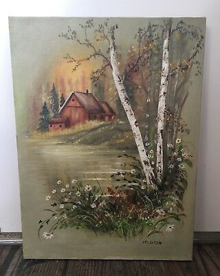 Vintage Original Oil Painting On Canvas Signed Delgado, Cabin In Woods & Lake