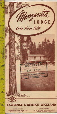 1954 Brochure Manzanita Lodge Lake Tahoe, Calif. Lawrence & Bernice Wickland