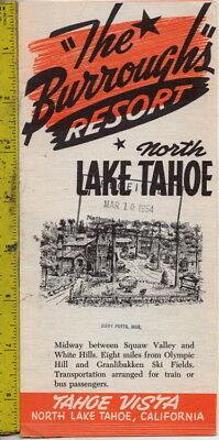 1954 Brochure The Burroughs Resort Tahoe Vista North Lake Tahoe, California