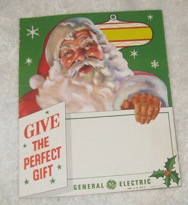 1950 Santa photo General Electric store hanging ad for display-cardboard