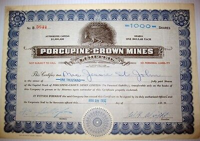 Porcupine Crown Mining Company Stock Certificate 1936