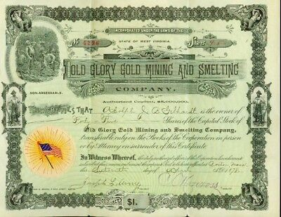 Old Glory Gold Mining Smelting Company Stock Certificate 1878