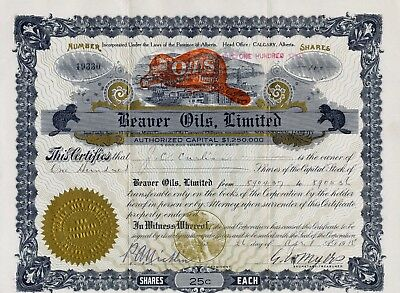 Beaver Oils Limited Company Stock Certificate 1915 CANADIAN