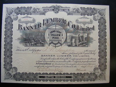 Banner Lumber Company Stock Certificate 1896