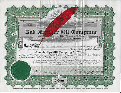 Red Feather Company Stock Certificate 1925
