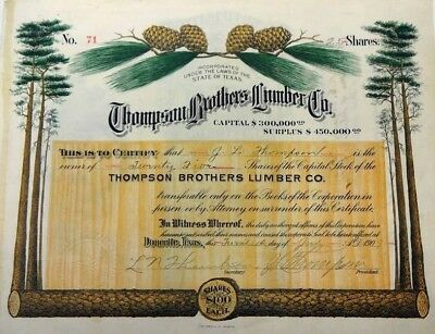 Thompson Brothers Lumber Company Stock Certificate 1909