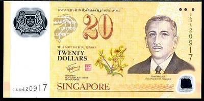 Singapore 3 x $20 Polymer Banknotes. NOT CONSECUTIVE NOTES. Uncirculated.