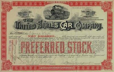 United States Car Company Stock Certificate 1894