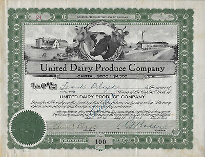 United Dairy Products Company Stock Certificate 1920
