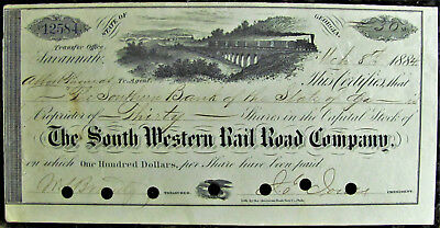 South Western Railroad Company Stock Certificate 1884