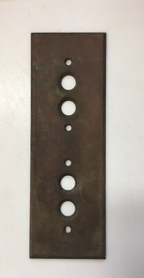 Rare Antique Heavy Brass Two Gang Push Button Vertical Light Switch Plate Cover