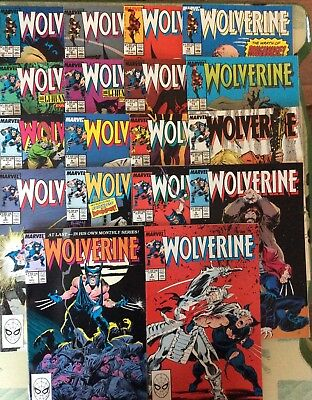 Wolverine 1-18 Lot (1988-9 Marvel)Very Nice Set, all 1st prnt, direct sale cover