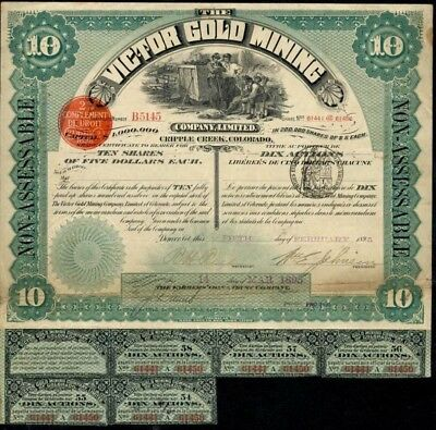 Victor Gold Mining Company Stock Certificate 1895