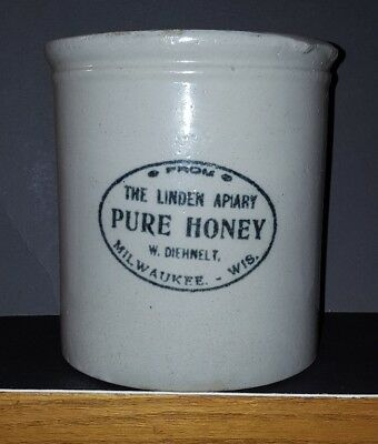 Red Wing stoneware Linden Apiary Pure Honey Milwaukee advertising crock