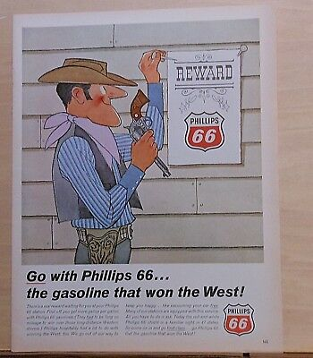 1966 magazine ad for Phillips 66 gasoline - sheriff nails up Reward poster