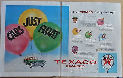 1957 two page magazine ad for Texaco - Cars Just Float, balloons & car, Spring
