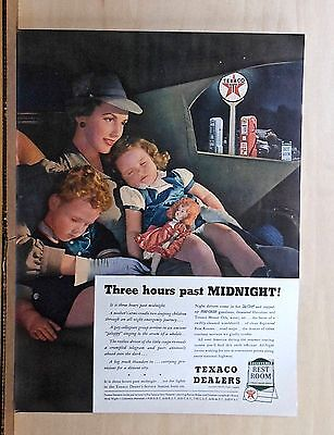 1940 magazine ad for Texaco - 3 hours past midnight at Texaco, mother & children