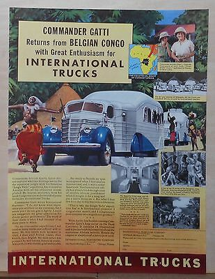1940 magazine ad for International Trucks - Gatti returns from Belgian Congo
