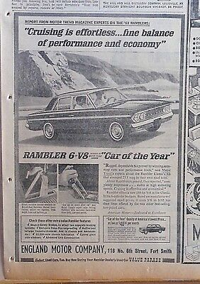 1963 newspaper ad for Rambler, Cruising effortless, Car of the Year, floor shift