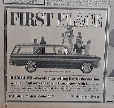 1963 newspaper ad for Rambler - Classic Cross Country Station Wagon, now with V8
