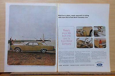 1963 two page magazine ad for Lincoln -'64 Continental at beach, Classic Styling