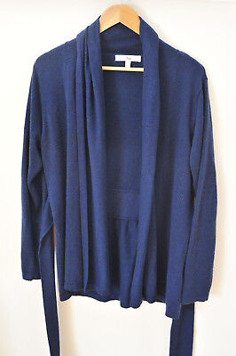 Ripe Maternity Wrap Cardigan, Blue, Size L, Tie Front, Roll collar