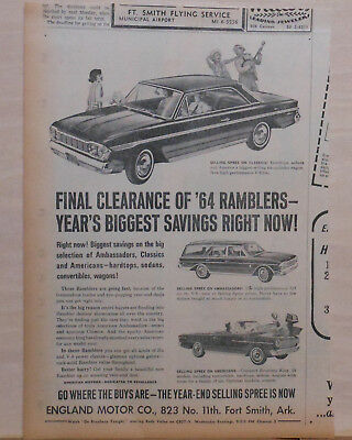 1964 newspaper ad for Rambler - Ambassadors, Americans Clearance for 1964